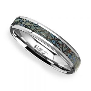 Blue Dinosaur Bone Inlay Wedding Ring in Tungsten (4mm)