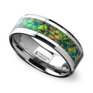 Blue & Orange Opal Inlay Men's Wedding Ring in Tungsten | Featured