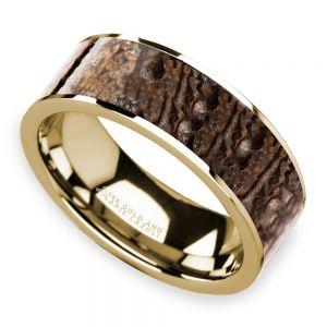 Brown Dinosaur Bone Inlay Men's Wedding Ring in 14K Yellow Gold