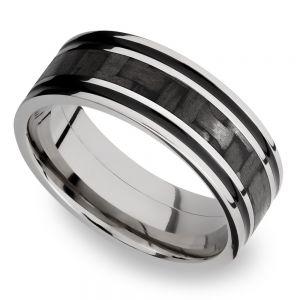 Carbon Fiber Inlay Men's Wedding Ring in 14K White Gold (8mm)