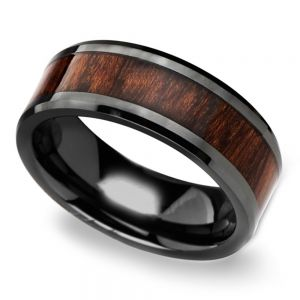 Carpathian Wood Inlay Men's Beveled Ring in Black Ceramic