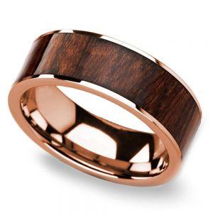 Naturalist - Rose Gold Mens Ring with Carpathian Wood Inlay