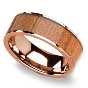 Cherry Wood Inlay Men's Flat Wedding Ring in Rose Gold