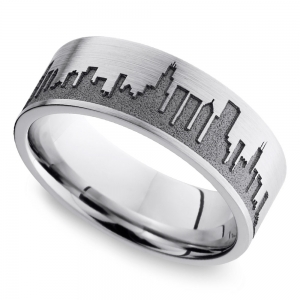 Chicago Skyline Men's Wedding Ring in Cobalt