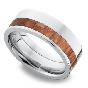Cobalt Chrome Men's Band with Leopard Wood Inlay
