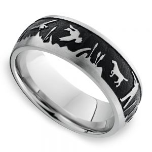 Duck Season - Cobalt Mens Band with Duck Hunting Pattern