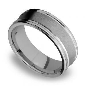 Concaved Center Men's Wedding Ring in Titanium