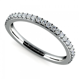 Curved Diamond Wedding Ring in White Gold