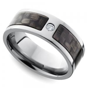 Diamond Accent Carbon Fiber Men's Wedding Ring in Titanium