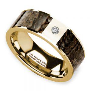 Brown Dinosaur Bone Inlay Men's Wedding Ring with Diamond in 14k Yellow Gold