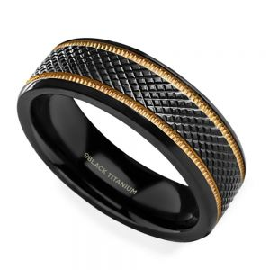 Black Mamba - Titanium Mens Wedding Ring with Gold Grooves