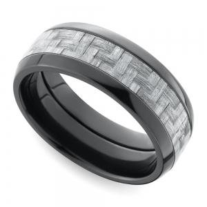 Domed Carbon Fiber Men's Wedding Ring in Zirconium