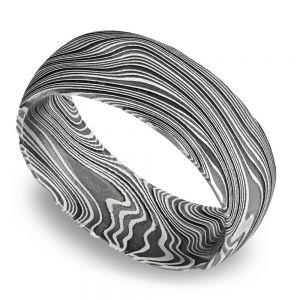 Domed Marble Men's Wedding Ring in Damascus Steel