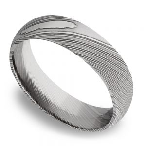 Domed Men's Wedding Ring in Damascus Steel (6mm)
