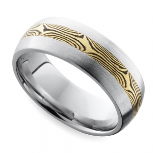 Domed Satin Men's Wedding Ring with Mokume Inlay in Cobalt