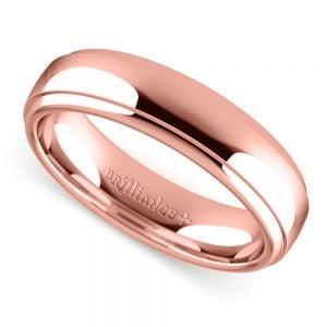 Domed Step Edge Men's Wedding Ring (5 mm) in Rose Gold