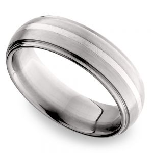 Domed Sterling Silver Inlay Men's Wedding Ring in Titanium