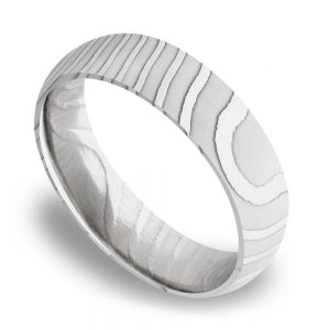 Domed Tiger Men's Wedding Band in Damascus Steel