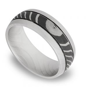 Domed Tiger Men's Wedding Ring with Two Accent Grooves in Damascus Steel