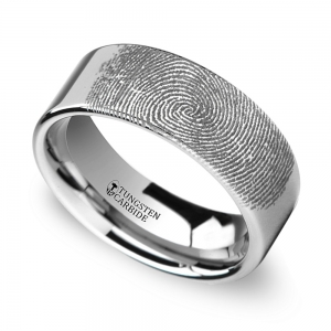 Fingerprint Engraved Flat Wedding Ring in Tungsten (6mm)