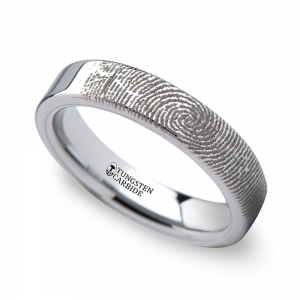 Fingerprint Flat Wedding Ring in Tungsten (4mm) | Featured