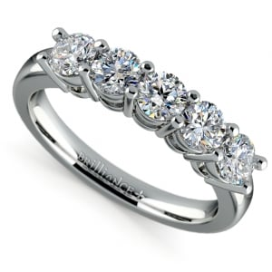 Five Diamond Wedding Ring in White Gold (1 ctw) | Featured