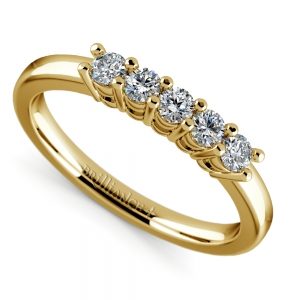 Five Diamond Wedding Ring in Yellow Gold