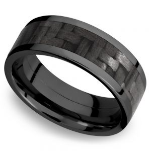 Flat Carbon Fiber Inlay Men's Wedding Ring in Zirconium (8mm)