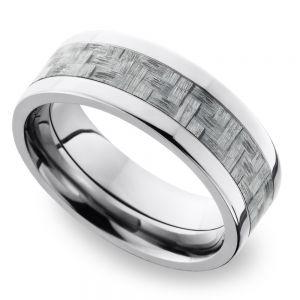 Flat Carbon Fiber Inlays Men's Wedding Ring in Titanium