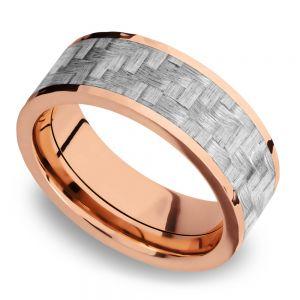 Flat Silver Carbon Fiber Inlay Men's Wedding Ring in 14K Rose Gold