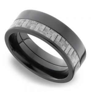 Flat Silver Carbon Fiber Inlay Men's Wedding Ring in Zirconium