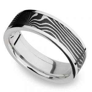 Flattwist Damascus Inlay Men's Wedding Ring in Cobalt Chrome