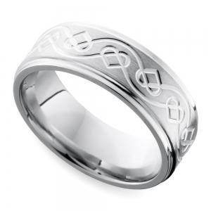 Grooved Edge Celtic Heart Men's Wedding Ring in Cobalt (9 mm)