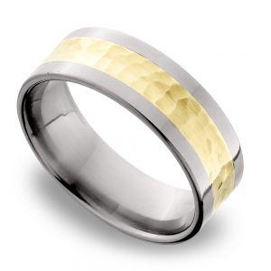 Hammered 14K Yellow Gold Inlay Men's Wedding Ring in Titanium
