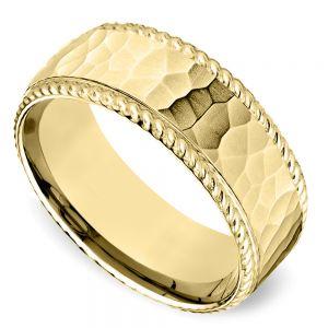 Hammered Rope Edging Men's Wedding Ring in Yellow Gold