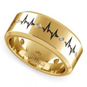 Heartbeat Men's Diamond Eternity Band In Yellow Gold