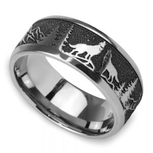 Howl - Wolf and Forest Pattern Mens Band in Titanium