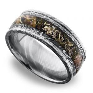 Predator -  Damascus Steel Mens Ring with Kings Mountain Inlay