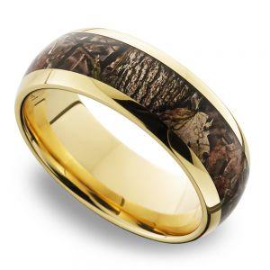 King's Woodland Inlay Men's Wedding Ring in 14K Yellow Gold