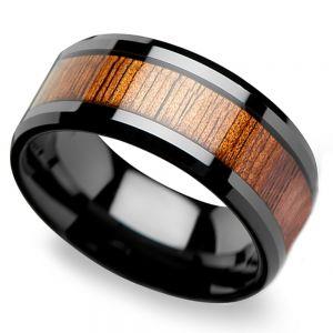 Koa Wood Inlay Men's Beveled Ring in Black Ceramic (12mm)