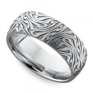 Laser Carved Domed Men's Wedding Ring in Cobalt