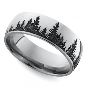 Laser Carved Forest Pattern Men's Wedding Ring in Cobalt | Featured
