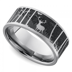 Laser Carved Mountain Themed Men's Wedding Ring in Titanium