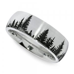 Laser Carved Pine Tree Pattern Men's Wedding Ring in Cobalt