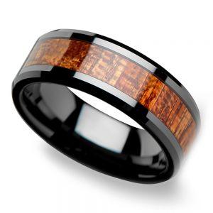 Rich Mahogany - Black Ceramic Mens Ring with Wood Inlay