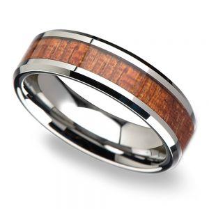 Mahogany Hard Wood Inlay Men's Beveled Ring in Tungsten (6mm)