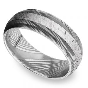 Meteorite Inlay Men's Wedding Ring with Steeped Down Edges in Damascus Steel