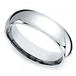 Mid-Weight Men's Wedding Ring in White Gold (6mm)