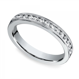 Milgrain Channel Diamond Eternity Ring in White Gold  | Featured