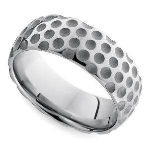Mixed Finish Golfball Pattern Men's Wedding Ring in Cobalt